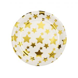 Χάρτινο πιάτο με χρυσά αστεράκια  - σετ 10τμχ