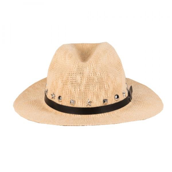 Ψάθινο Μπεζ Καπέλο - Ασημένια Τρουκς
