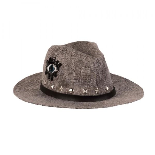 Ψάθινο Γκρι Καπέλο - Μάτι