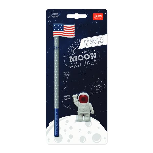 Σετ 2 γόμες και 1 μολύβι - To the moon and back